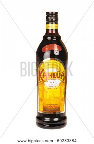 Hayward, CA - July 29, 2014: 750ml bottle of Kahlua Rum and Coffee liqueur made in Mexico