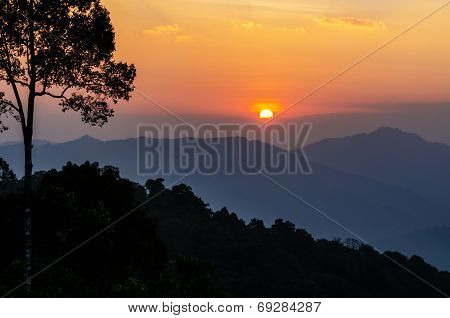 High Angle View Beautiful Sunset
