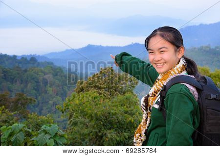 Tourist Girl On The Mountain