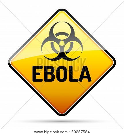 Ebola Biohazard virus danger sign with reflect and shadow on white background. Isolated warning symbol. poster