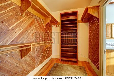 Empty Closet With Wood Paneled Walls