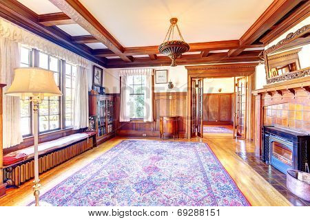 Empty Office Room With Coffered Ceiling, Fireplace And Cabinet