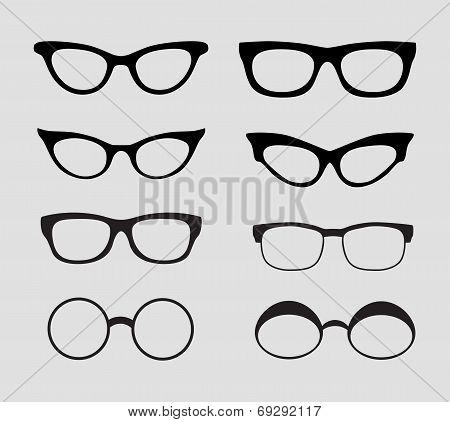 Glasses Vector Set. Retro, Hipster Styles