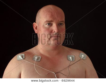photo male with tens senors on his body for massage poster