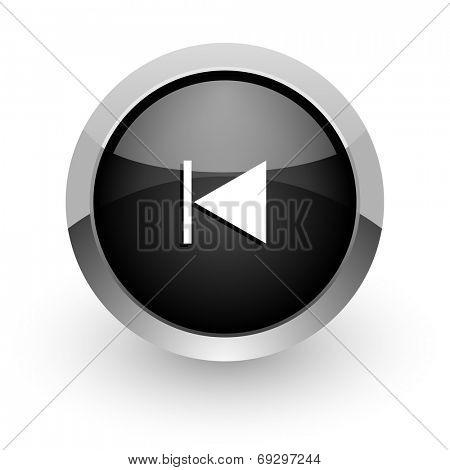 prev black chrome glossy web icon