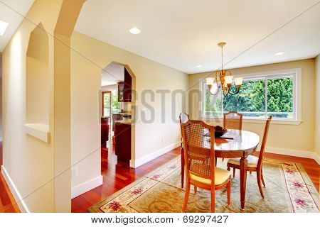 Bright Dining Room In Soft Ivory Color