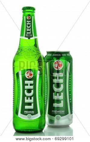 Lech pale lager beer isolated on white background