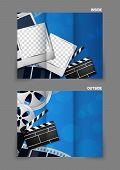 Cinema entertainment reel clapper design in blue color for tri-fold brochure poster