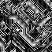 Circuit board industrial electronic monochrome graphic background poster