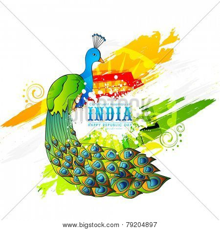 Indian Republic Day celebration with National Bird Peacock and Ashoka Wheel on colorful abstract background.
