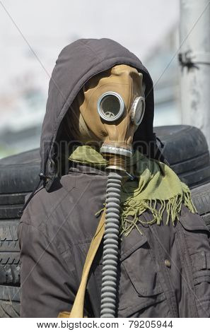 KIEV, UKRAINE - APR 29, 2014: Downtown of Kiev.Camp decoration with military items.Rioters camp.Putsch of Junta.April 29, 2014 Kiev, Ukraine