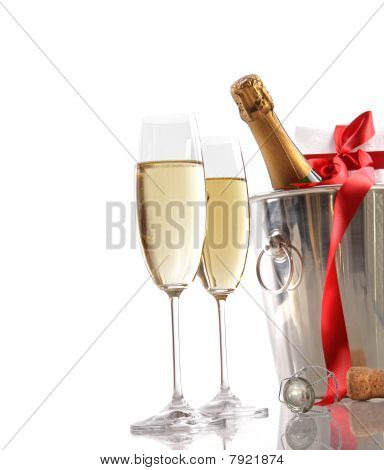 Glasses Of Champagne With Red Ribbon Gift