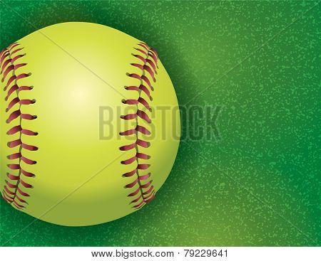 Softball On A Textured Grass Field Illustration