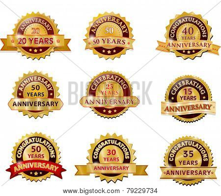 Anniversary gold badge set