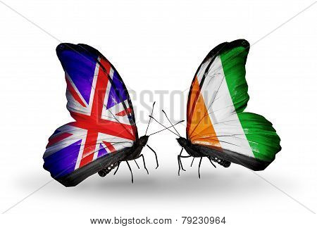 Two Butterflies With Flags On Wings As Symbol Of Relations Uk And Cote Divoire