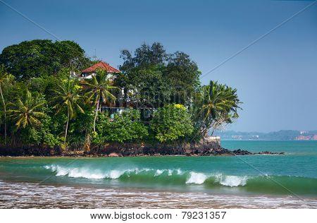 Buildings on the tiny island near the town of Weligama, Sri Lanka