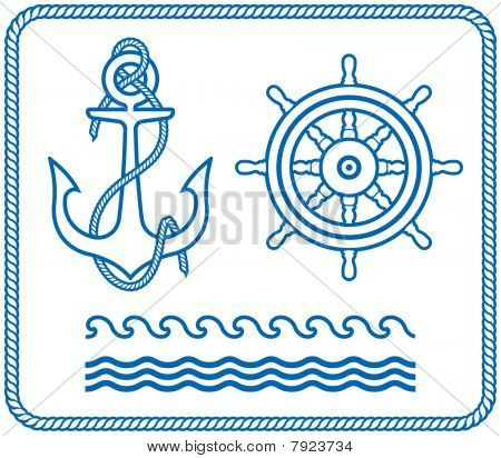 Anchor and Helm. Nautical designs