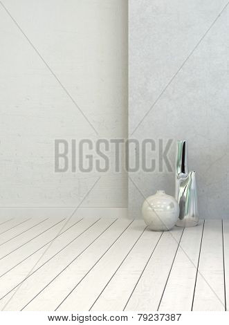 3D Rendering of Two vases in a clean white rustic room interior with painted white wooden floorboards and wall, close up vertical view with copyspace for decor placement or text
