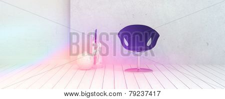 3D Rendering of Single Chair and Vase Decorations Inside an Empty White Room Illuminated by Light.