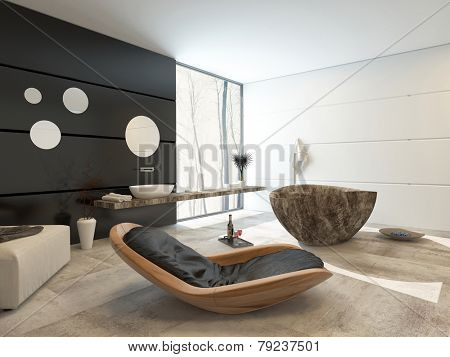3D Rendering of Contemporary design in a luxury bathroom interior with a comfortable wooden recliner chair, ottoman, marble patterned oval tub hand black accent wall with a wall mounted and basin