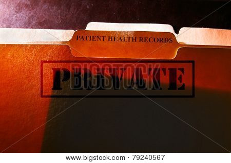 File folders with Patient Health Records label and Private stamp poster