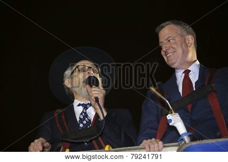 Mayor De Blasio with Rabbi Hecht