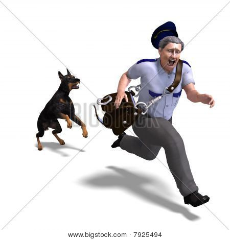 the postman runs from the dangerous dog