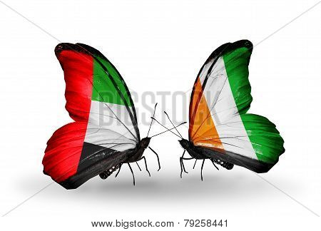 Two Butterflies With Flags On Wings As Symbol Of Relations Uae And Cote Divoire