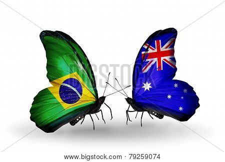 Two Butterflies With Flags On Wings As Symbol Of Relations Brazil And Australia