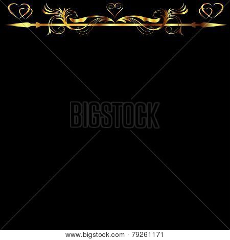 Gold Hearts And Floral Design Over Black