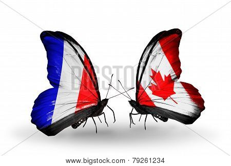 Two Butterflies With Flags On Wings As Symbol Of Relations France And Canada
