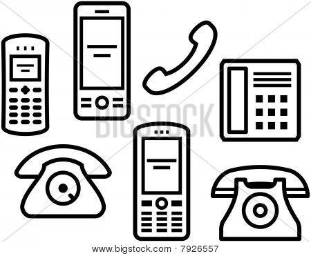 Telephones, mobile phones - Vector illustration