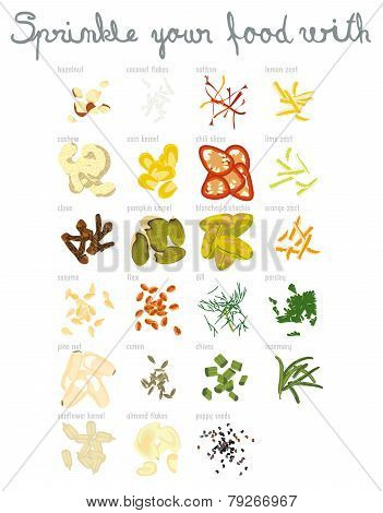 Set of 23 spices and nuts with hand lettering. Suitable for a menu. poster