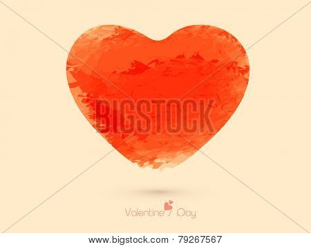 Happy Valentine's Day celebration greeting card with orange grungy heart.