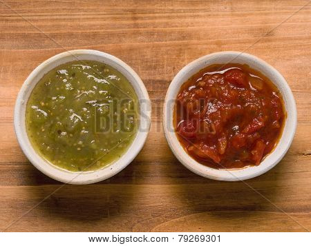 Rustic Red Tomato Salsa And Green Salsa Verde