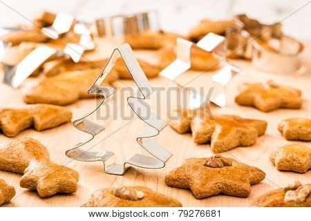 Christmas gingerbread cookies with cutter.