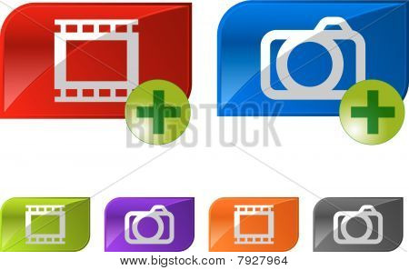 Glossy photo video buttons