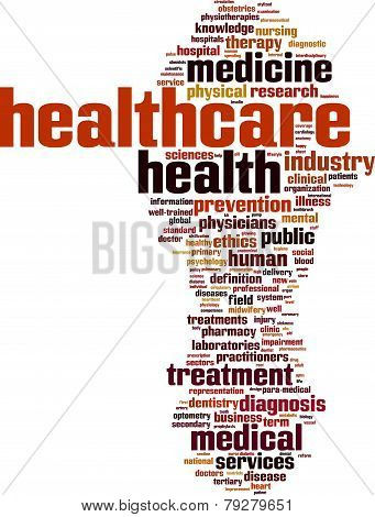 Healthcare word cloud concept isolated on white poster