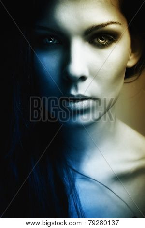 Extravagant Beautiful Girl Dark Portrait