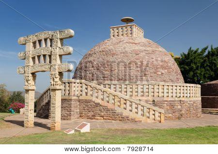 Ancient Stupa in Sanchi Madhya Pradesh India. poster