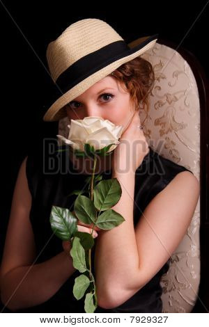 Nice Woman With A Rose