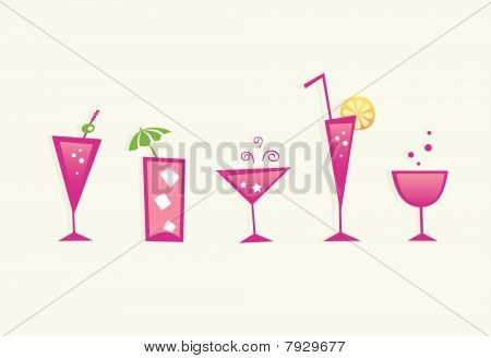 Hot Summer Drinks And Cocktail Glasses