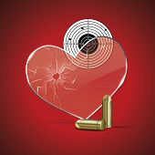 Bright background with glass heart with a bullet hole, target and bullets. poster