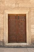 Close-up of ancient wooden door Sultan Ahmet Mosque istanbul Turkey poster
