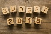 Budget for 2015, wooden blocks on a wooden background poster