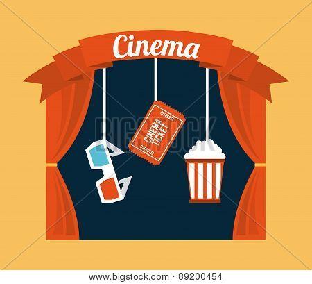 cinema design over cream background vector illustration