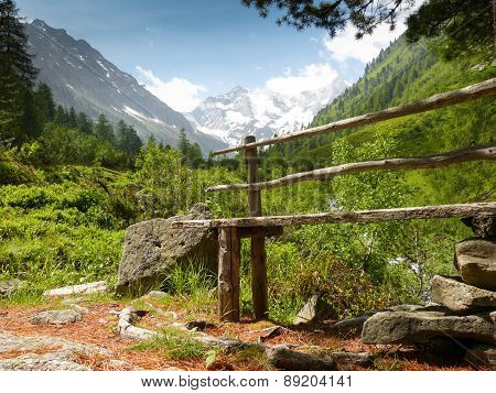 wooden bench in the Austrian Alps