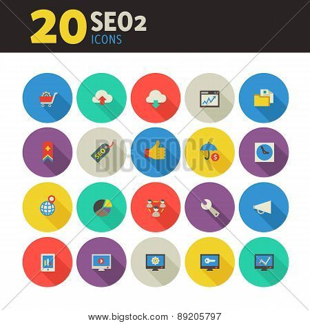 SEO 2 icons on colored round buttons
