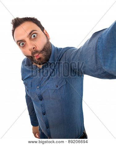 Selfie Of A Young Man With Wow Expression