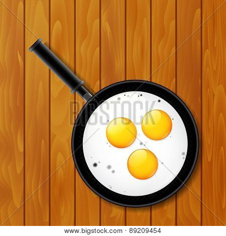 Fried eggs in pan on the wooden table, vector illustration